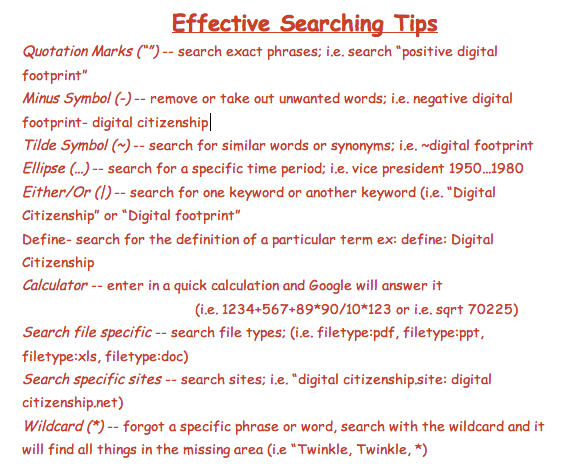 Important searching techniques of the internet