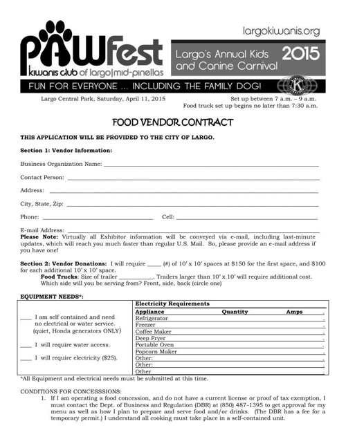 Pawfest 2015 Food Vendor Contract
