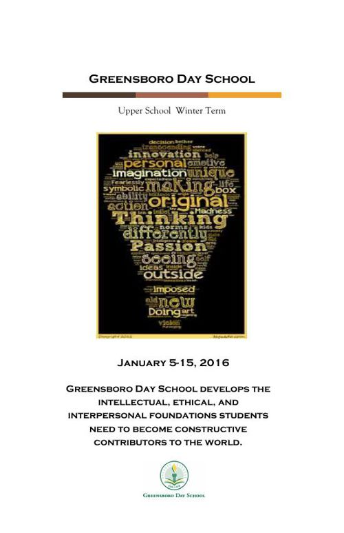 Greensboro Day School Upper School Winter Term Course Catalogue