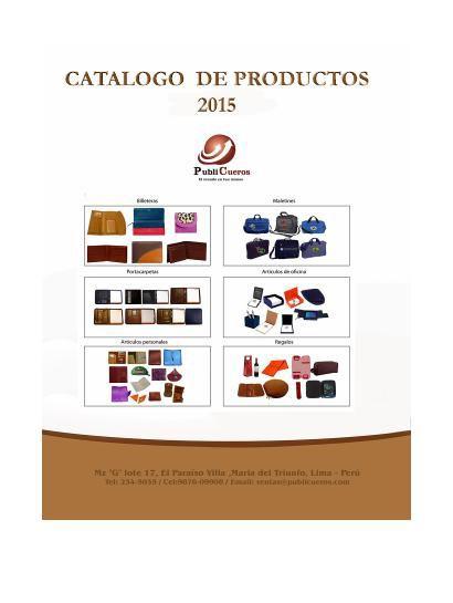 CATALOGO DE PRODUCTOS 2015