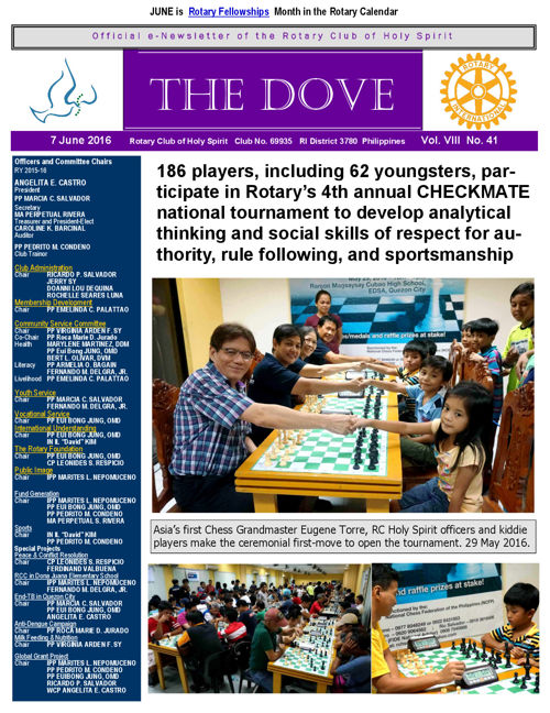 RC Holy Spirit THE DOVE Vol. VIII No. 41 June 7, 2016