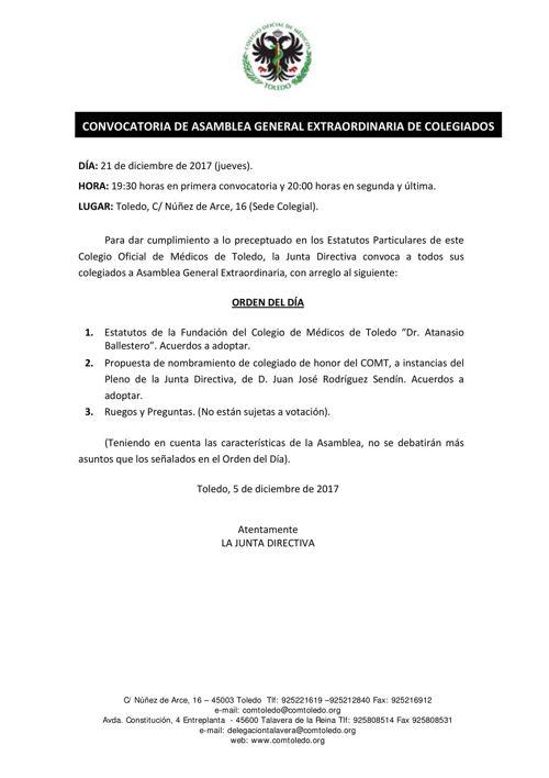 Asamblea General Extraordinaria 21.12.17