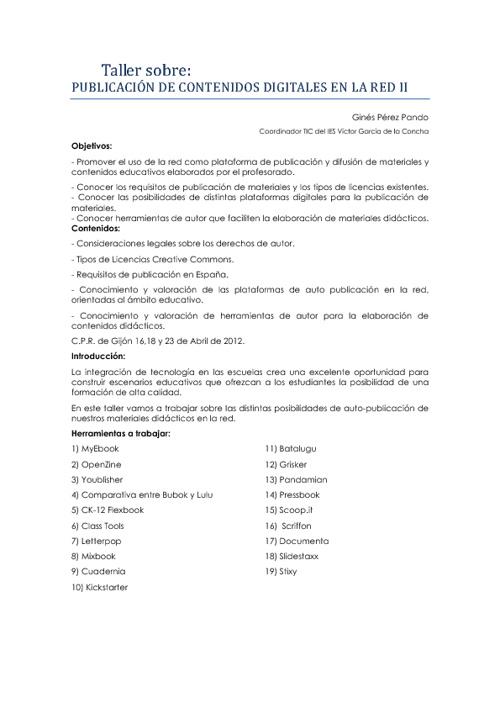 Taller de publicación 2 - 2012