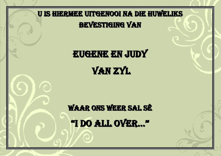 I Do All Over (Afrikaans)