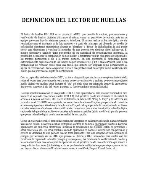 DEFINICION DEL LECTOR DE HUELLAS