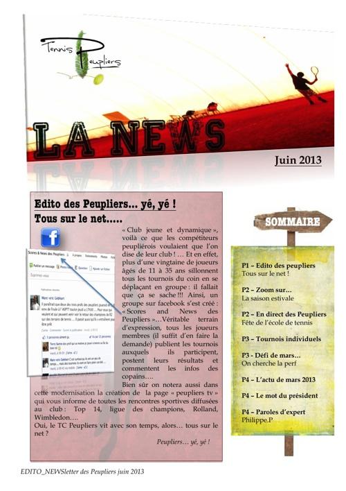 NEWSletter des Peupliers juin 2013