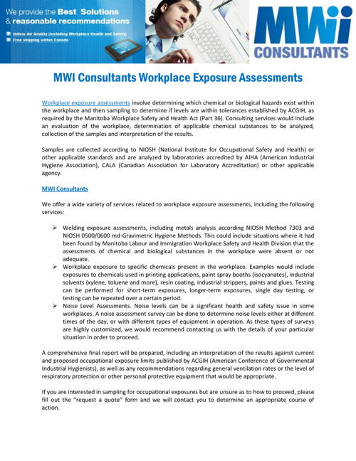 MWI Consultants Workplace Exposure Assessments