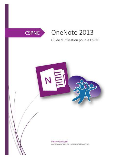 OneNote - Guide d'utilisation - CSPNE