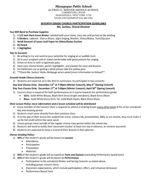 Seventh Grade Chorus Guidelines