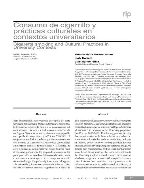 Consumo De Cigarrillo Y Practicas Culturales En Contextos