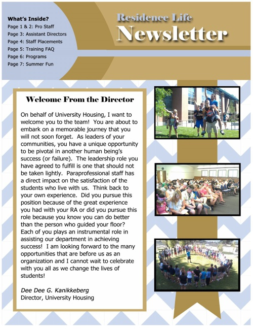 Residence Life Summer Newsletter