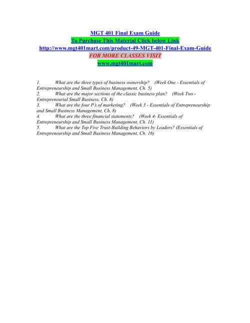 MGT 401 MART Entire course /mgt401mart.com
