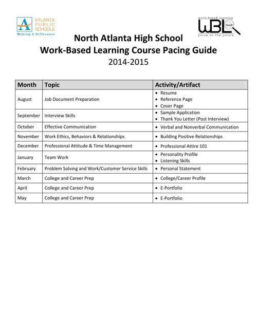 Standard I--Pacing Guide--Work-Based Learning (Freeman)