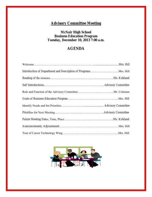 MHS December 2013 Advisory Meeting