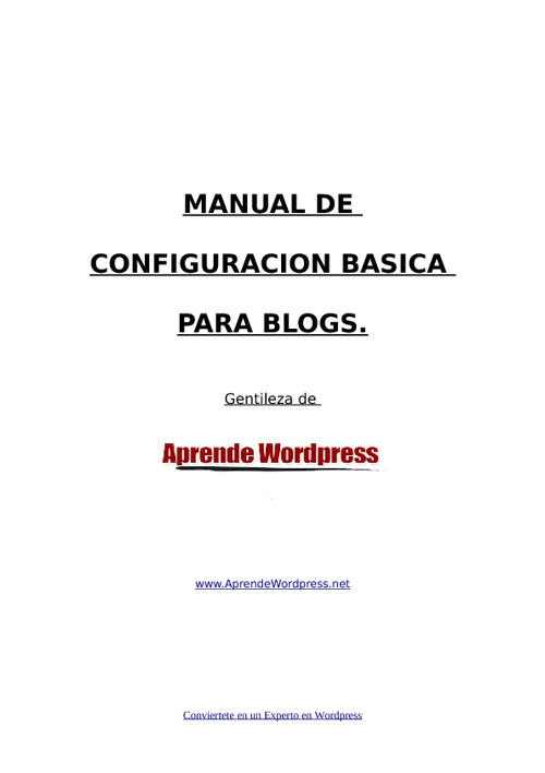 Manual de Configuracion Basica de WordPress