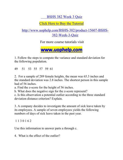 BSHS 382 Week 3 Quiz