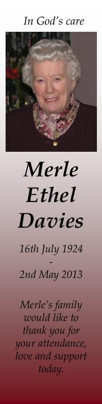Bookmark for Merle Davies