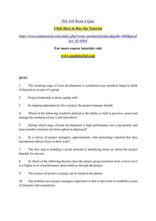 INF 410 Week 4 Quiz