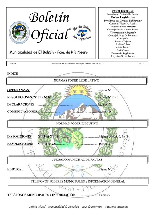 Boletín Oficial Nº 27 Febrero 2013