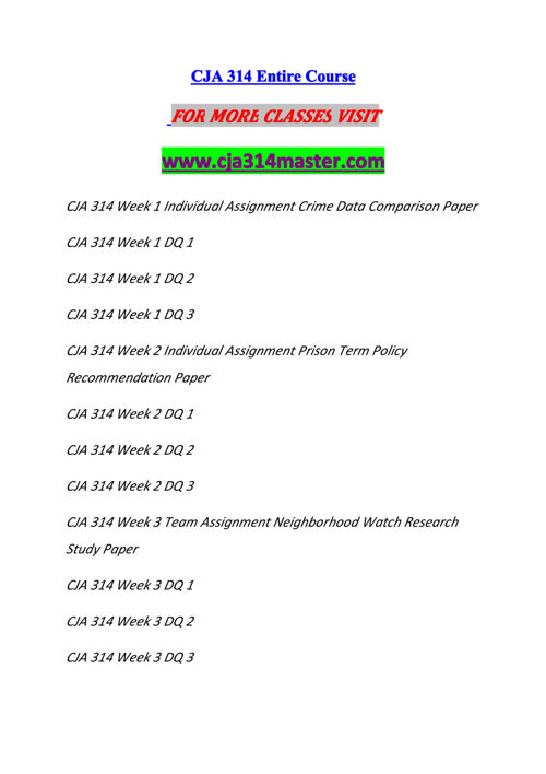 CJA 314 MASTER Experience Tradition/cja314master.com