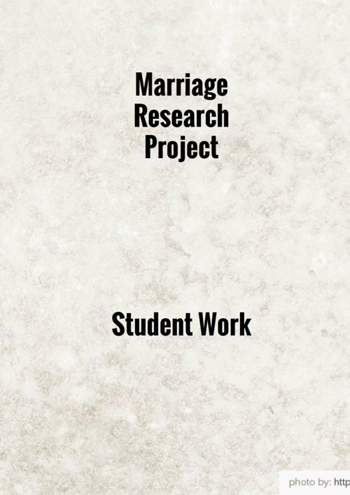 Marriage Research Project Student Work