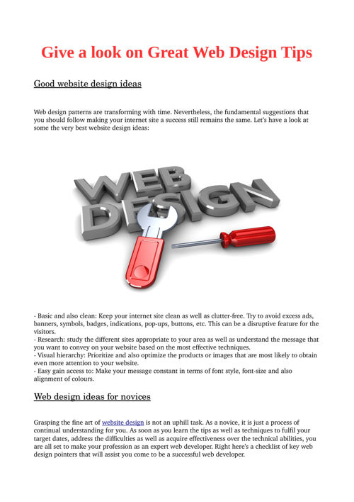 Give a look on Great Web Design Tips