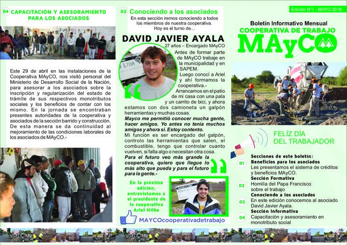 Boletín Informativo Mensual MAyCO - Edición N°1 Mayo 2016