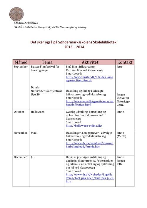 Årshjul   for   Søndermarksskolens Skolebibliotek