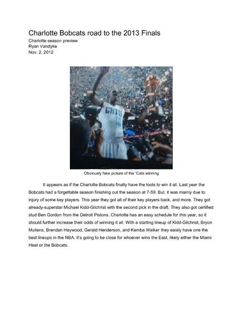 Bobcats road to the 2013 NBA Finals
