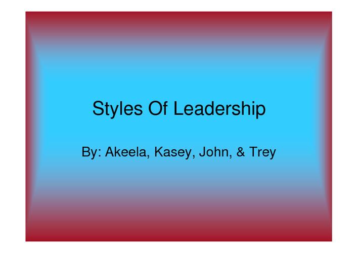 Styles of Leadership 2