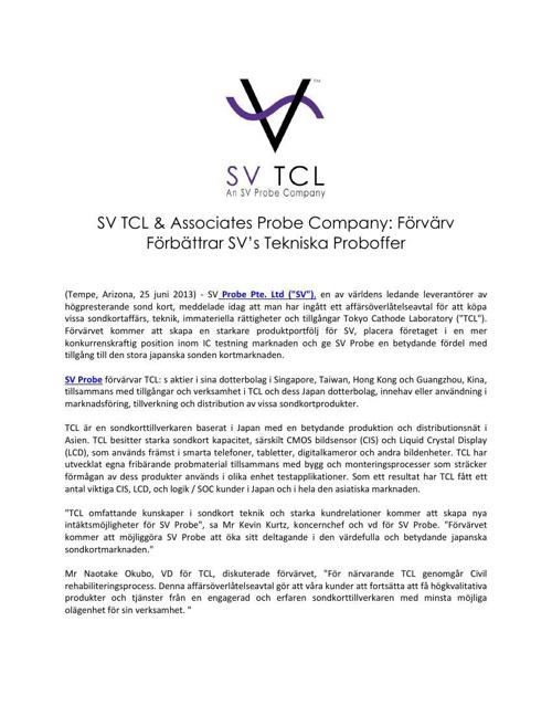 SV TCL and Associates Probe Company: Förvärv Förbättrar SV's Tek