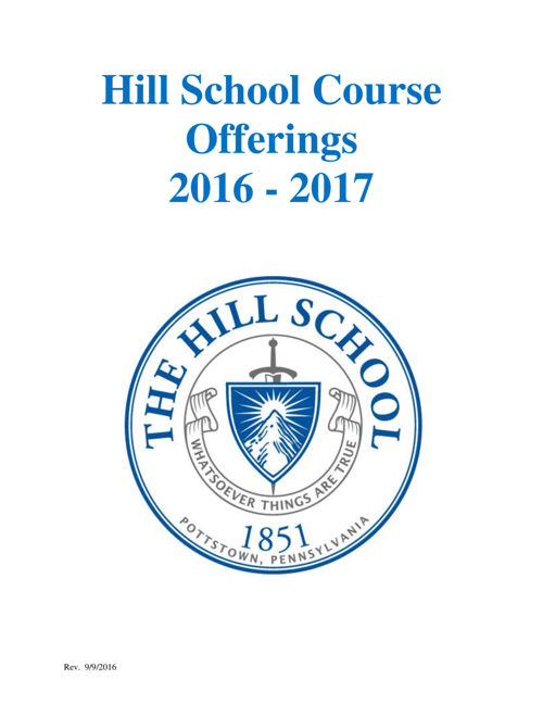 The Hill School Course Offerings 2016-17
