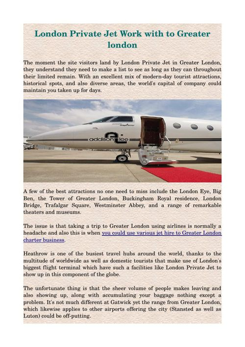 London Private Jet Work with to Greater london