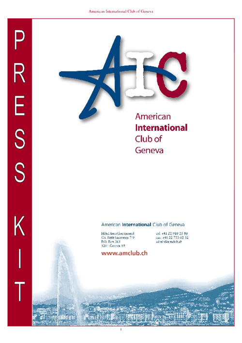 American International Club of Geneva Press Kit