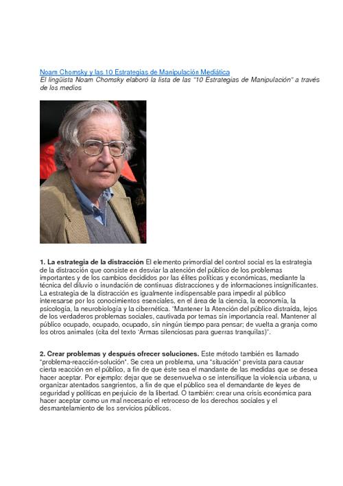 Las 10 estrategias de la manipulación medíatica- Noam Chomsky