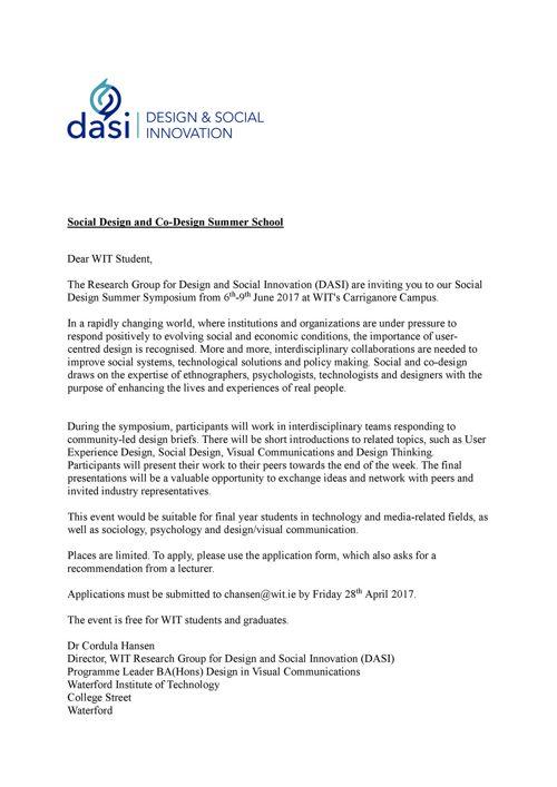 Social Design Summer School invite letter 2017