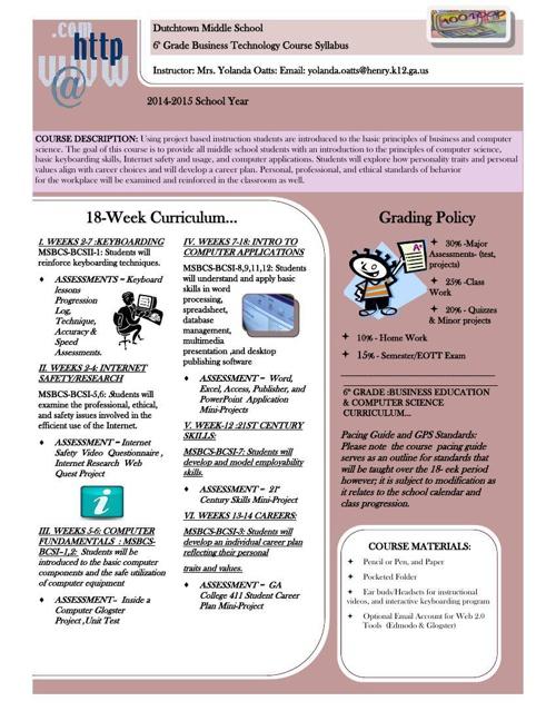 6thGradeBusiness_Tech18Wk_Syllabus-NewsLetter2014-15