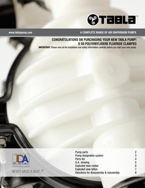 "Tabla 2"" (50mm) Polyvinylidene Fluoride (PVDF) Clamped"