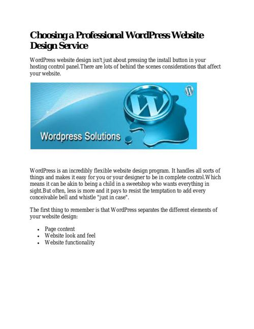 Choosing a Professional WordPress Website Design Service