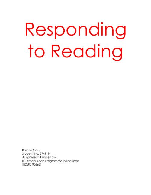 Response to readings by Karen Chaur
