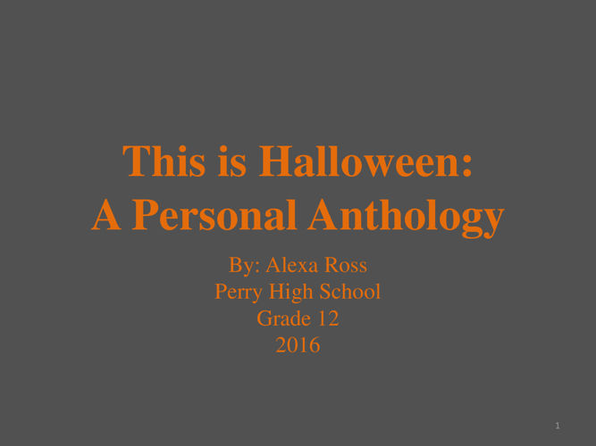 This Is Halloween Anthology Alexa Ross