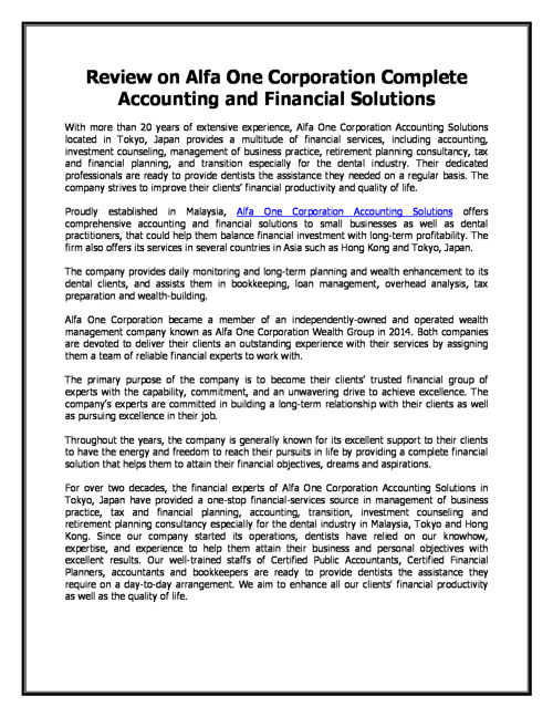 Review on Alfa One Corporation Complete Accounting and Financial