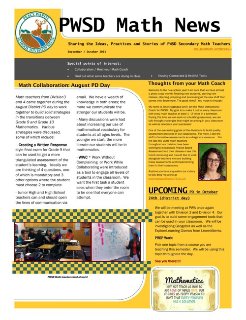 October 2013 PWSD Math News