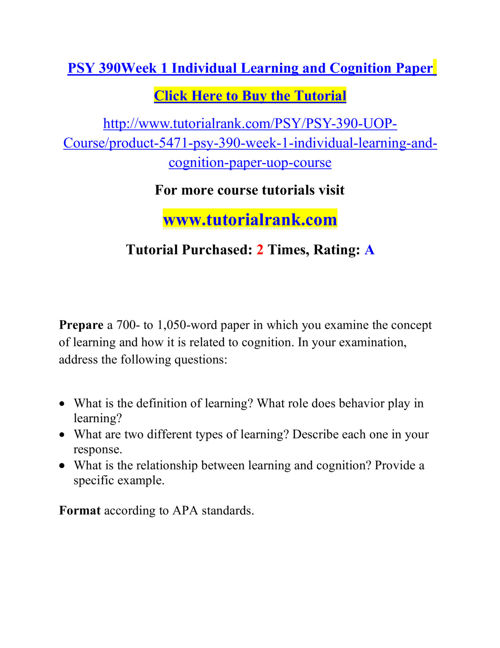 PSY 390  Course Career Path Begins / tutorialrank.com