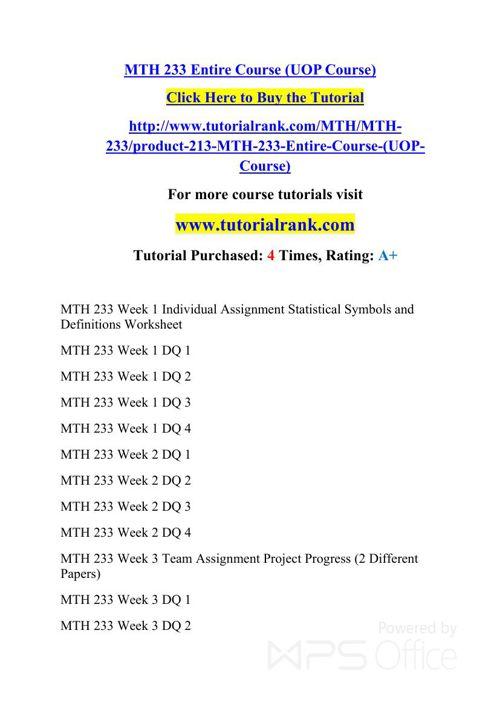 MTH 233 UOP Courses /TutorialRank