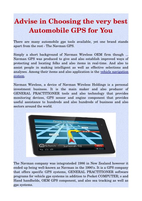 Advise in Choosing the very best Automobile GPS for You