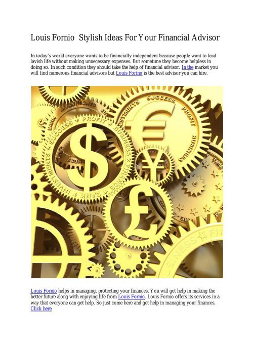Louis Fornio  Stylish Ideas For Your Financial Advisor