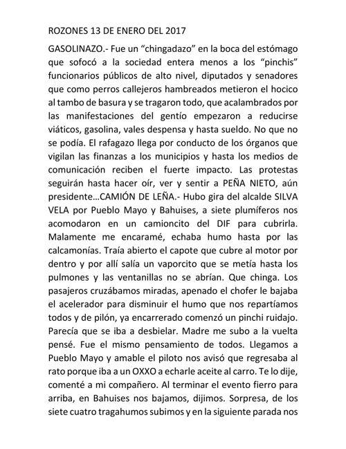 ROZONES 13 DE ENERO DEL 2017