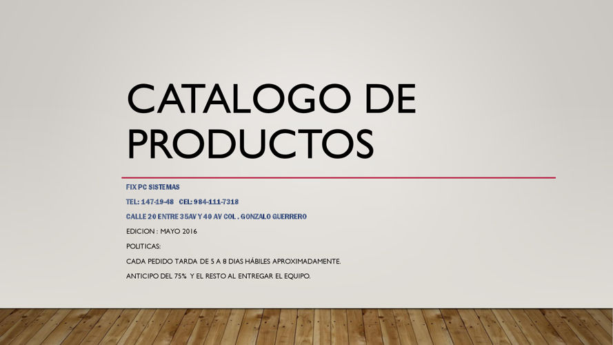 Catalogo de Productos Fix PC Sistemas