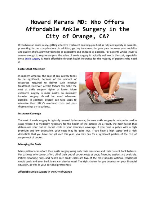 Howard Marans MD - Who Offers Affordable Ankle Surgery in the Ci